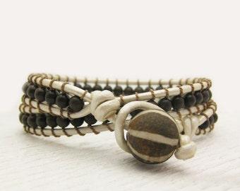 Pearl Leather Bronzite Wrap Bracelet / fossilized coconut wood with silk / chocolate brown cream ivory bone / bohemian tribal neutral