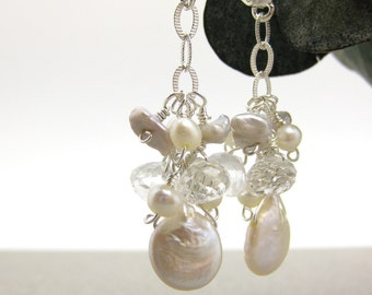 Fresh Water Pearl Bridal Earrings with Rock Crystal in Sterling Silver / wedding bridesmaid bride cluster ivory white dangle