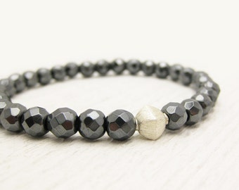 Silver Diamond Faceted Grey Hematite Bead Stacking Bracelet  / star night storm evening inspired / metallic gray sparkle bohemian indie