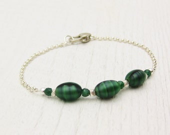 I Love You Bracelet / Genuine Emerald & Vintage Murano Glass from Venice in Sterling Silver / love statement sentiment green heart