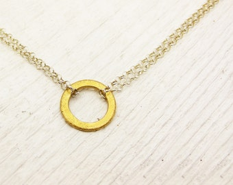 Eternal Gold Vermeil & Sterling Silver Necklace: circle eternity bridal white golden modern clean sparse geometric gold summer fashion