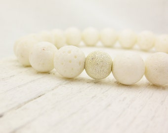White Coral Bead Bracelet / Coral  & Solid Sterling Silver / Stacking ocean nautical beach inspired summer spring pale cream neutral dreamy