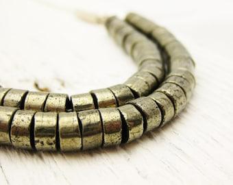 "Brazilian Pyrite Statement Bib Necklace on Sterling Silver, Layered Heishi ""Raza Necklace"" metallic modern fools gold winter holiday fashion"