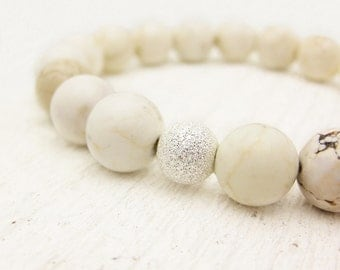 White Turquoise (magnesite) Bead Bracelet with Sterling Silver Stardust Ball / cream natural stacking stretch / nature woodland inspired