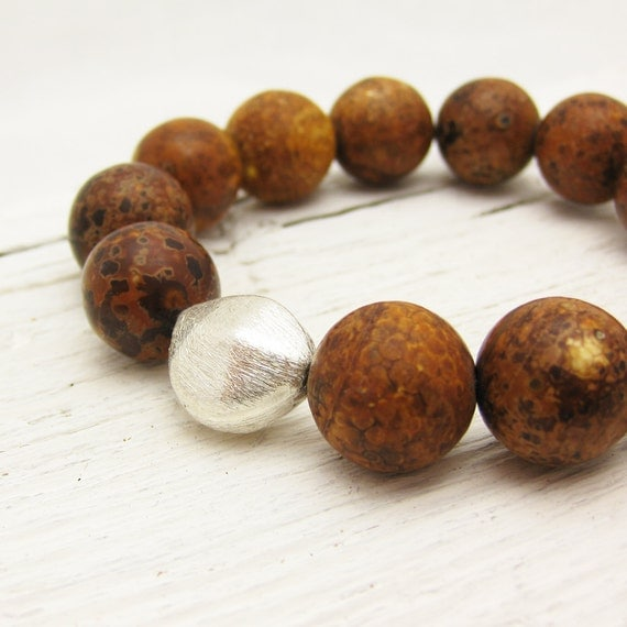 Tibetan Agate Bracelet with Brushed Sterling Silver: beaded stacking elastic natural brown coffee toffee organic nature woodland white