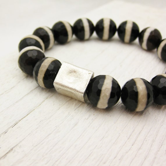 Zebra Agate Bead Bracelet with Brushed Sterling Silver Focal Bead: black white gift for her under 50 decadent modern