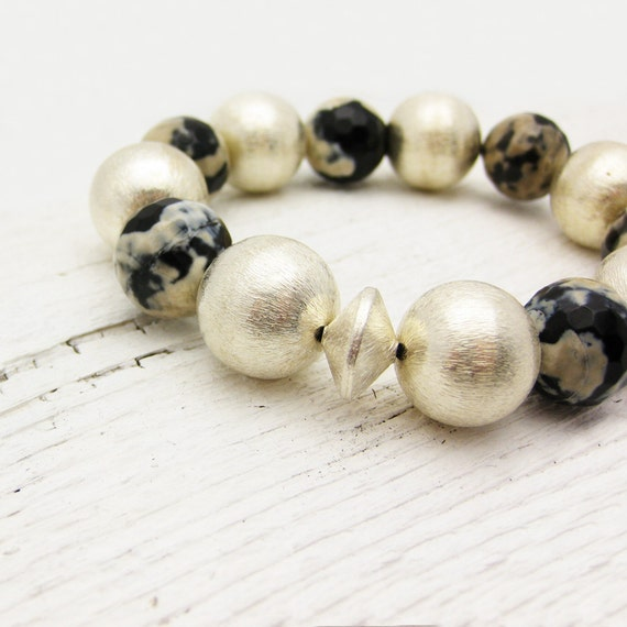 Reserved for Denise : Sterling Silver Bead Statement Bracelet / Agate & Sterling Stacking Bracelet
