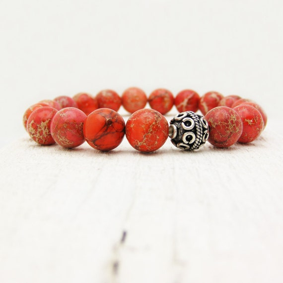 RESERVED FOR ANN : Burnt Orange Jasper Bead Bracelet / Aqua Terra in Sterling Silver / red stacking bright colorful fresh