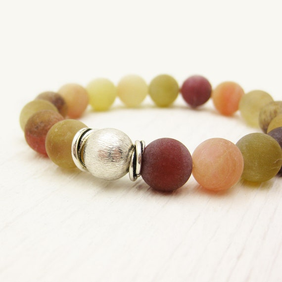 Fluorite Colorful Bead Bracelet / Summer Colors Fresh and Fruity / Matte Gemstones / yellow red orange lime green peach