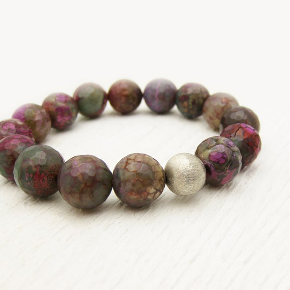 Green Fire Agate Bead Bracelet with Brushed Sterling Silver / woodland inspired / rainbow of colors / purple grey blue pink green brown