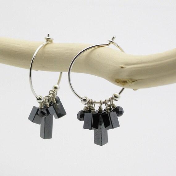 Hematite Hoops in Argentium Silver / hand formed / metallic dangle fresh boho geometric