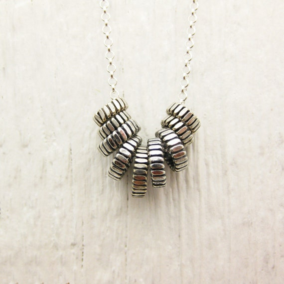 Zipper Sterling Silver Everyday Necklace / hipster geometric chevron inspired / metallic fresh fashion
