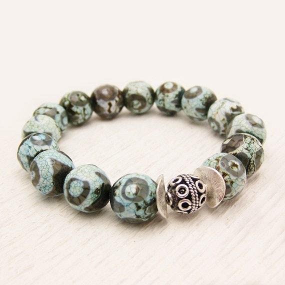 Blue Tibetan Agate Boho Bead Bracelet in Sterling Silver / sky aqua blue grey eye texture pattern / bohemian summer fashion / wedding brida
