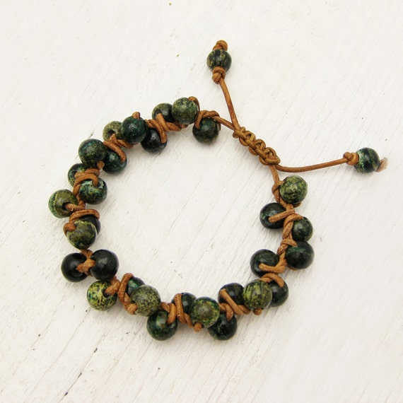 Micalite Green Leather Knotted Bracelet / woodland moss berry inspired / olive natural earth tones brown cluster bohemian