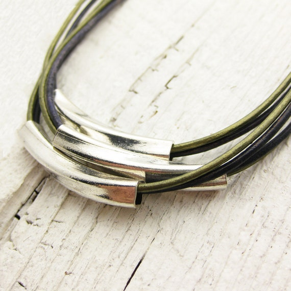 Leather & Sterling Geometric Tubes Necklace / Solid Sterling Silver / Eco Friendly Leather / olive blue metallic bib statement necklace