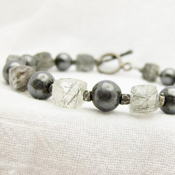 Rutilated Quartz & Oxidized Sterling Silver Bracelet: Hand Oxidized w/ Black Gold Vermeil / elegant evening fashion