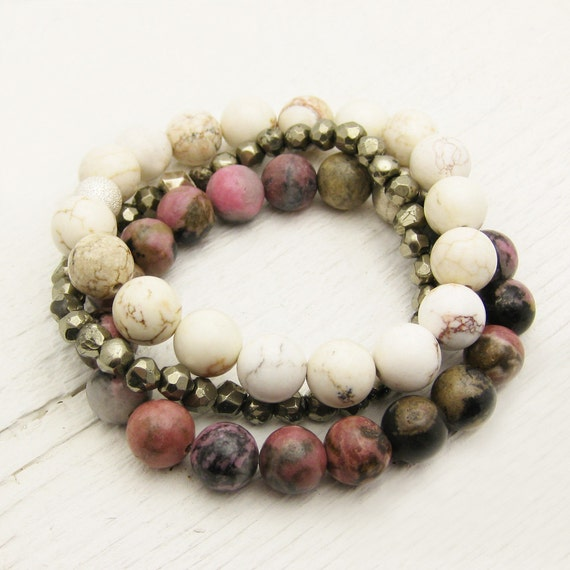 Gemstone Bead Bracelet Set / Pyrite, Rhodonite & White Turquoise (Magnesite) / pink ombre fools gold rustic natural golden stacking natural