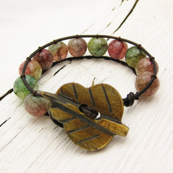 Rainbow Agate Leather Bracelet w/Horn Toggle / fresh colorful tourmaline green pink / watermelon juicy fruit woodland grass inspired