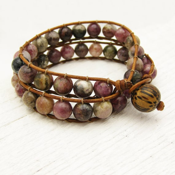 Tourmaline Leather Double Wrap Bracelet / watermelon pink green fruit colors / rustic country design / bohemian fashion silk road