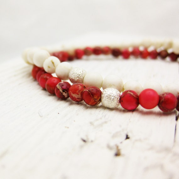 Red Jasper Bead Bracelet with Sterling Silver Stardust Beadwork: Tiny Stacking Elastic Bracelet, winter berry scarlet cherry white