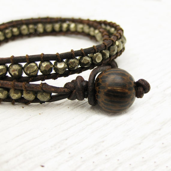 Pyrite Leather Wrap Bracelet with Coconut Wood and 100% Silk: fools gold dude unisex brown inspired by woodland tree coffee