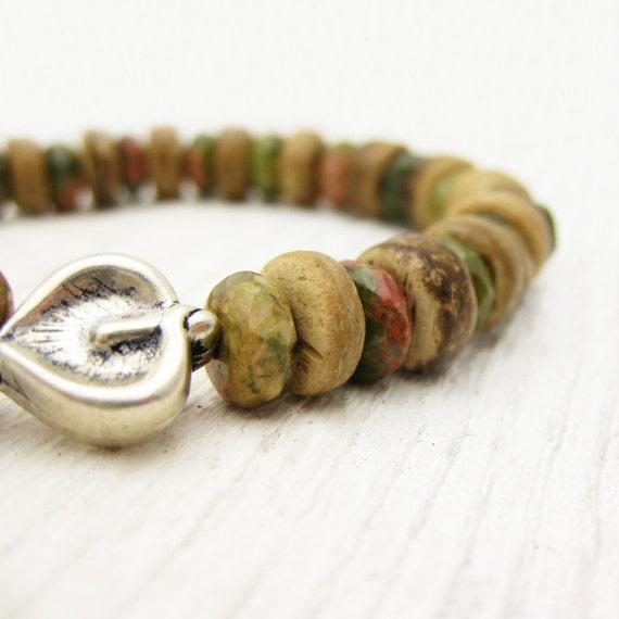 Natural Stone Bracelet / Unakite Coconut Wood & Sterling Silver Leaf / woodland safari camping inspired / bohemian brown neutral khaki