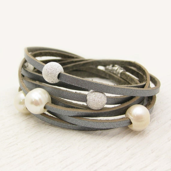 Sterling Silver Pearl and Leather Wrap Bracelet / Fresh Water Pearl & Eco Friendly Leather / romantic dreamy ocean wedding star inspired
