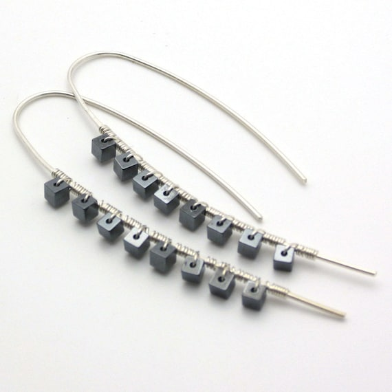 "Hematite Sterling ""Stix"" Earrings: modern rocker celebrity Fashion metallic black and white edgy  statement jewelry"
