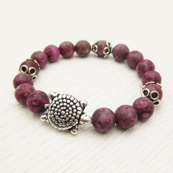 Fuchsia Fossil Coronoid Jasper Bead Bracelet With Sterling Silver Turtle / garden and reptile inspired / bright colorful purple pink shades