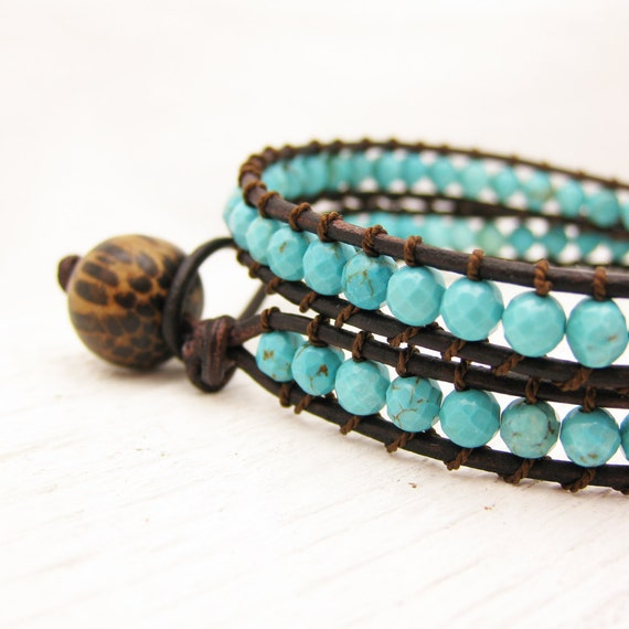 Turquoise Leather Wrap Bracelet / Eco Friendly Leather Coconut Wood Silk / sky blue southwestern bohemian unisex wrap bracelet