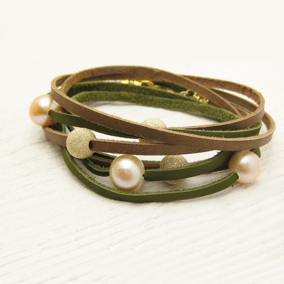 Peach Pearl and Gold with Bronze and Olive Leather Wrap Bracelet / Fresh Water Pearl & Eco Friendly Leather / gladiator tribal bohemian sag