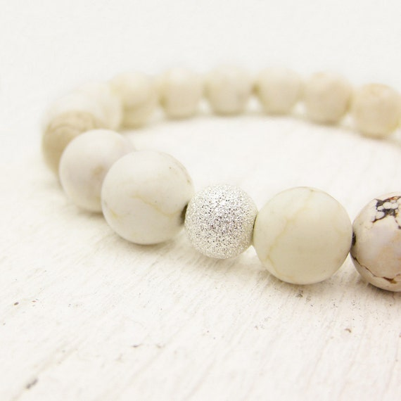 Reserved for Gretchen / Custom White Turquoise (magnasite) Bead Bracelet with Sterling Silver Flower Bead