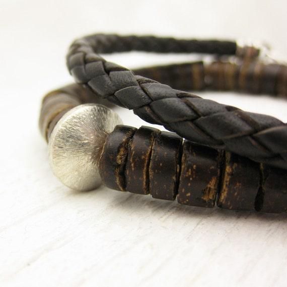 Men's Coconut Wood Beaded Bracelet in Sterling Silver / rustic brown rugged natural / guy man bohemian boho  beach musician inspired