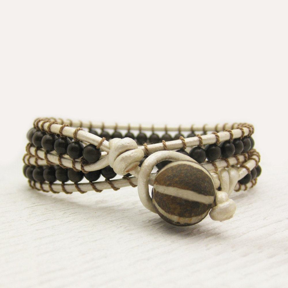 pearl leather bronzite wrap bracelet fossilized coconut wood. Black Bedroom Furniture Sets. Home Design Ideas
