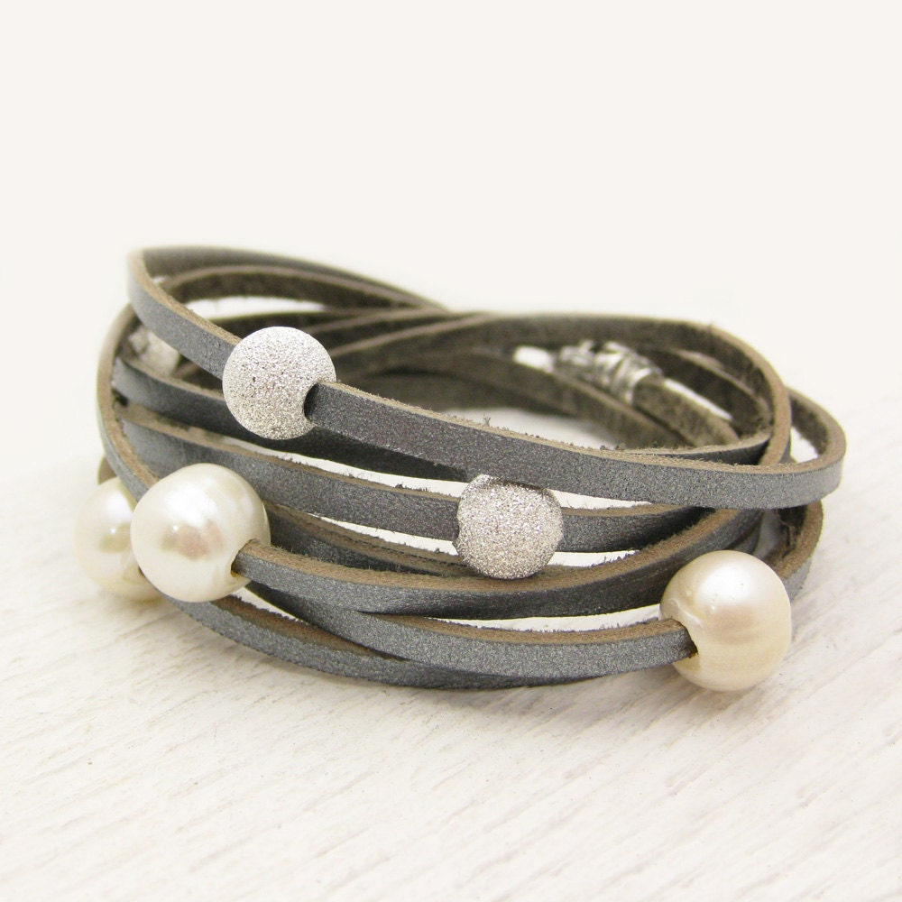 sterling silver pearl and leather wrap bracelet fresh water. Black Bedroom Furniture Sets. Home Design Ideas