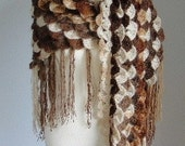 BIG BIG SALE- Brown Degrade Crocodile-Shawl Christmas--Scarf-Fashion-Spring-Winter-Turkish Hand Knit-Crochet-Fringe