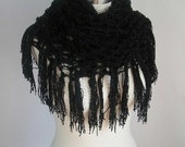 Big Big  SALE-  accesories-scarf-shawl- women-BlaCk PunCheD ShAwL(for summer evenings)