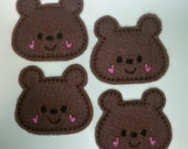 Machine Embroidered Felt -- Four (4) Brown Teddy Bear Embellishments Appliques for Crafts Hair Bows Clippies Clips -- QUICK TO SHIP