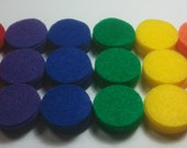 Rainbow -- 90 1-inch Felt Die Cut Circle Shapes -- Appliques Embellishments for Flowers Crafts Hair Bows Clippies Clips -- QUICK TO SHIP