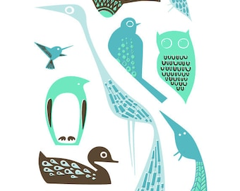 "8X10"" modern birds giclee print on fine art paper. teal, turquoise, mint, blue and brown"