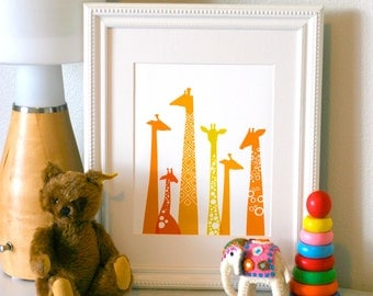 "8X10"" modern giraffe silhouettes giclee print on fine art paper. orange & yellow."