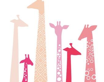 "16X20"" giraffe silhouettes giclée print on fine art paper. pink, magenta, fuchsia, lavender."
