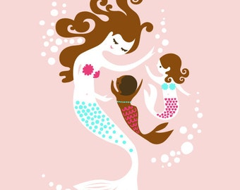 "8X10"" mermaid mother & two daughters giclee print on fine art paper. pink, teal, brunette, african american, adoption"
