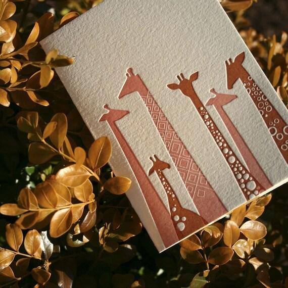 Set of 4 Letterpress Giraffe Cards
