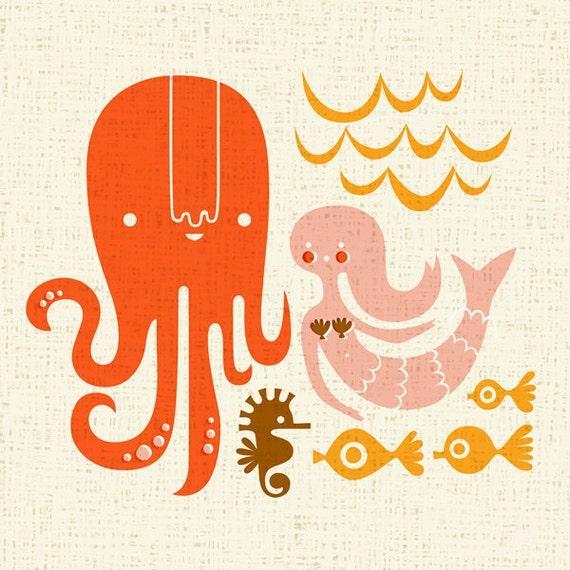 "12X12"" octopus garden giclee print on fine art paper. orange, pink, brown, schoolbus yellow. canvas texture background."