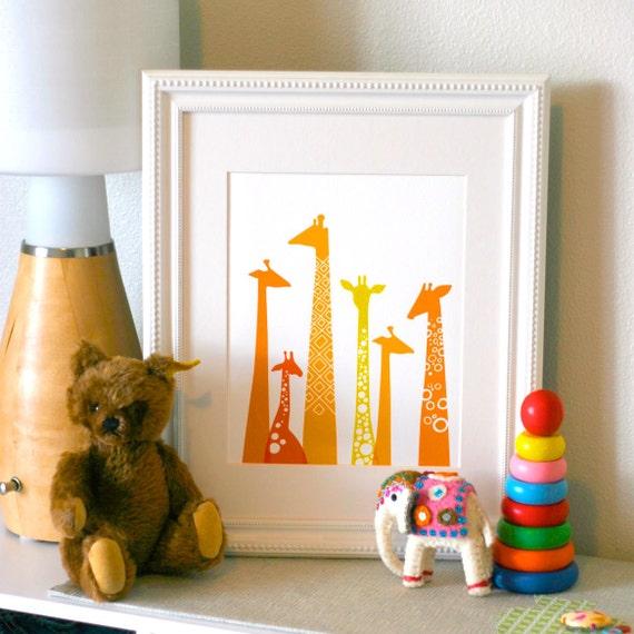 "8X10"" modern giraffe silhouettes giclee print on fine art paper. orange & yellow."