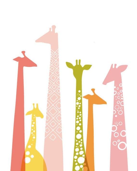 DIY modern giraffe silhouettes art template. PDF.