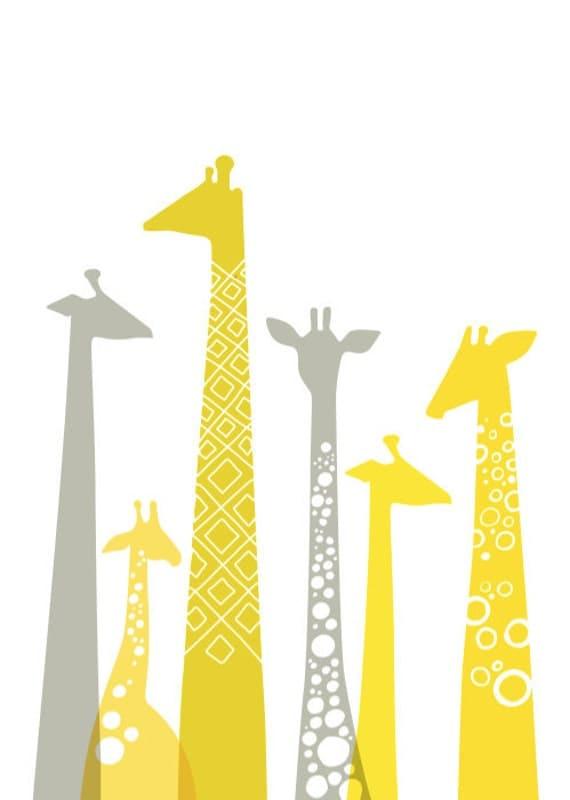 giraffes 5X7 giclee. yellow & gray.