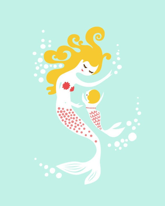 """mermaid mother & baby girl 8X10"""" giclee print. coral/aqua/blonde. mothers day gift."""