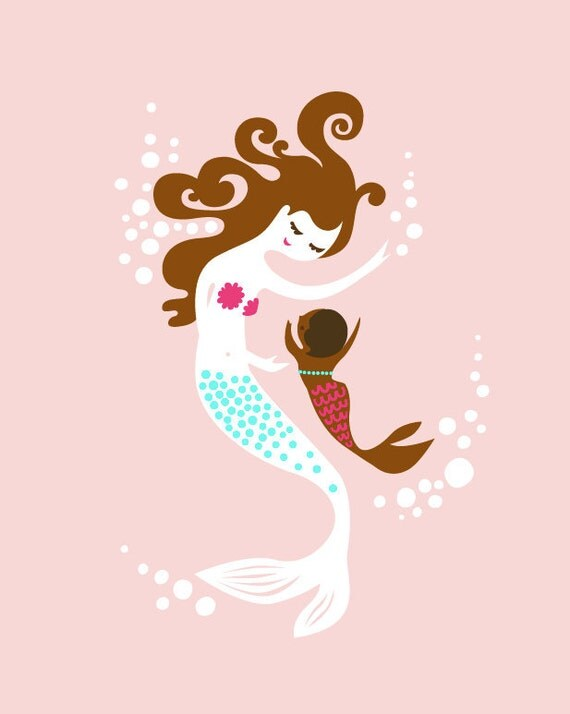 "8X10"" mermaid mother & baby girl. adoption gift. giclee print on fine art paper. chocolate brown, african american, brunette."